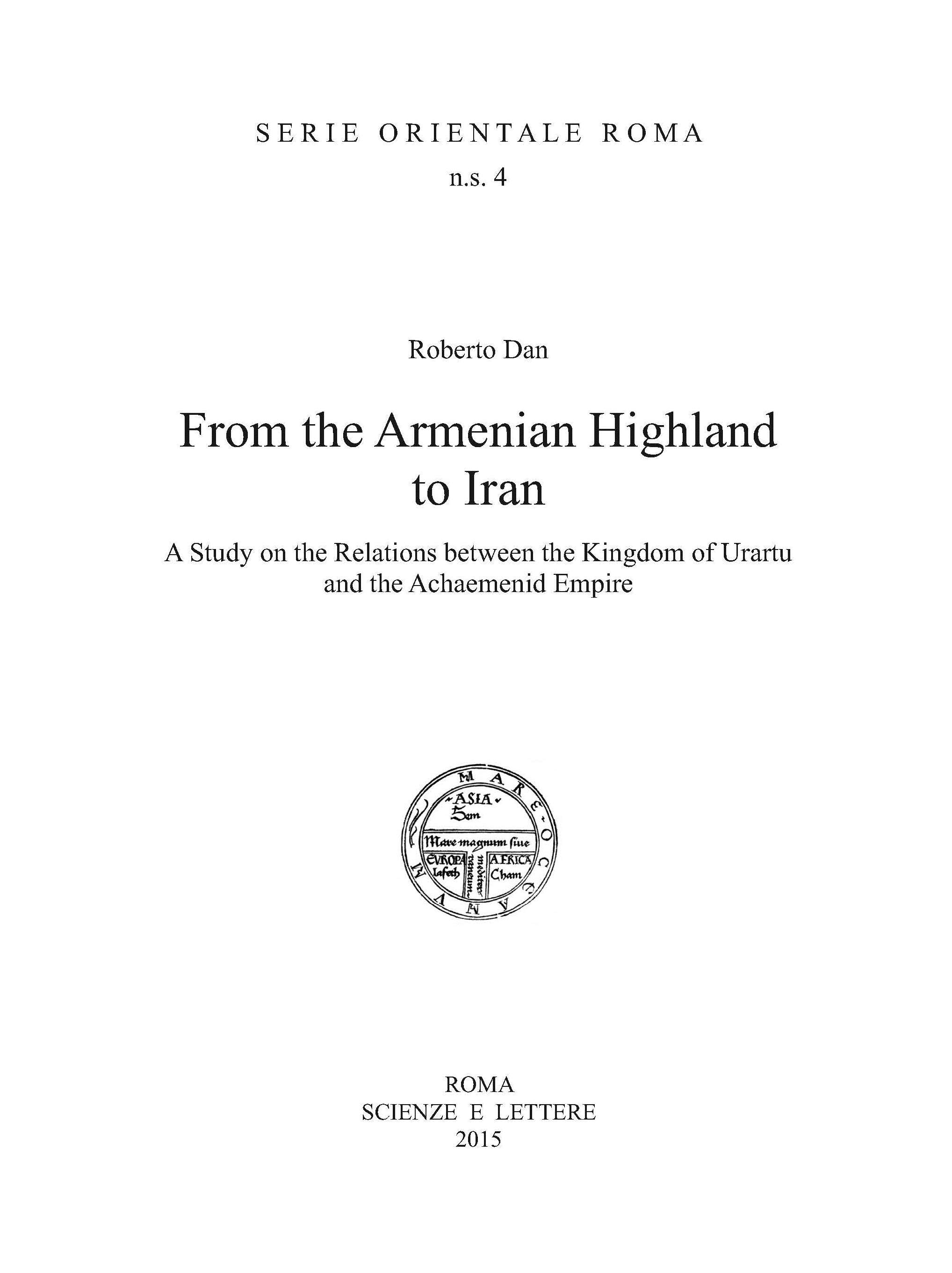 From the Armenian Highland to Iran